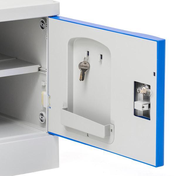ロッカー プラスチックロッカー 1段セット品 100-LBOX001BL×1 100-LBOXCB001×1 底板セット 軽量 縦横連結可能 工具不要 簡単組立 ブルー(即納) sanwadirect 15