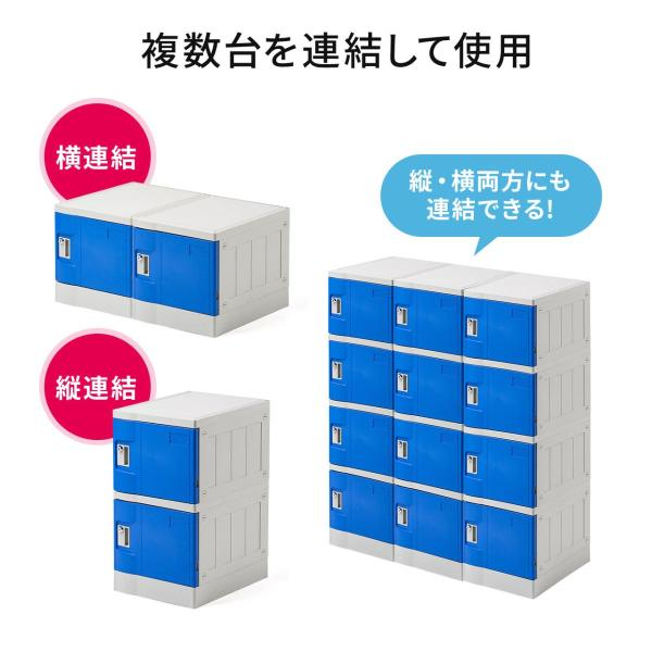 ロッカー プラスチックロッカー 1段セット品 100-LBOX001BL×1 100-LBOXCB001×1 底板セット 軽量 縦横連結可能 工具不要 簡単組立 ブルー(即納) sanwadirect 04