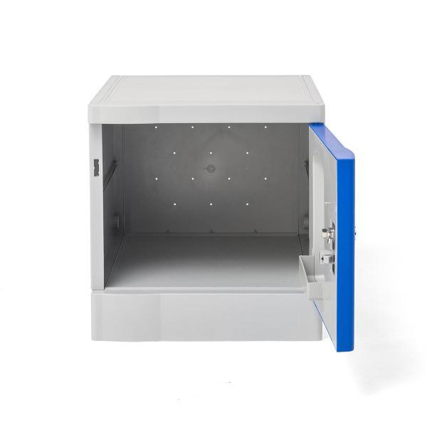 ロッカー プラスチックロッカー 3段セット品 100-LBOX001BL×3 100-LBOXCB001×1 底板セット 軽量 縦横連結可能 工具不要 簡単組立 ブルー(即納)|sanwadirect|13