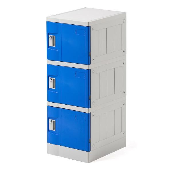 ロッカー プラスチックロッカー 3段セット品 100-LBOX001BL×3 100-LBOXCB001×1 底板セット 軽量 縦横連結可能 工具不要 簡単組立 ブルー(即納)|sanwadirect|20