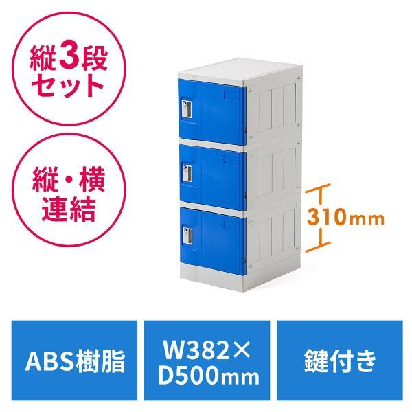 ロッカー プラスチックロッカー 3段セット品 100-LBOX001BL×3 100-LBOXCB001×1 底板セット 軽量 縦横連結可能 工具不要 簡単組立 ブルー(即納)|sanwadirect|21