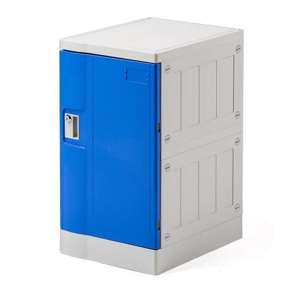 ロッカー プラスチックロッカー 1段セット品 100-LBOX003BL×1 100-LBOXCB001×1 底板セット 軽量 縦横連結可能 工具不要 簡単組立 ブルー sanwadirect 20