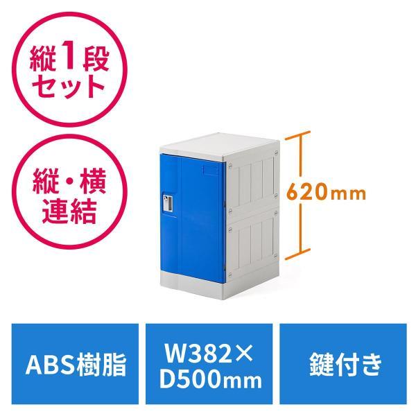 ロッカー プラスチックロッカー 1段セット品 100-LBOX003BL×1 100-LBOXCB001×1 底板セット 軽量 縦横連結可能 工具不要 簡単組立 ブルー sanwadirect 21