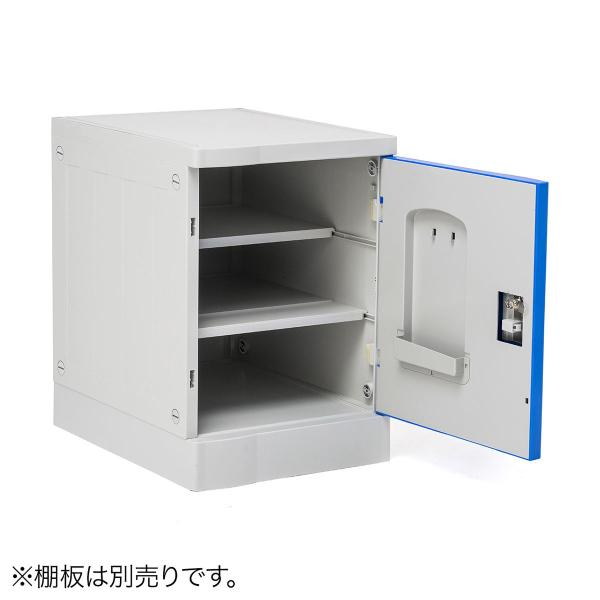 ロッカー プラスチックロッカー 2段セット品 100-LBOX003BL×2 100-LBOXCB001×1 底板セット 軽量 縦横連結可能 工具不要 簡単組立 ブルー(即納) sanwadirect 14