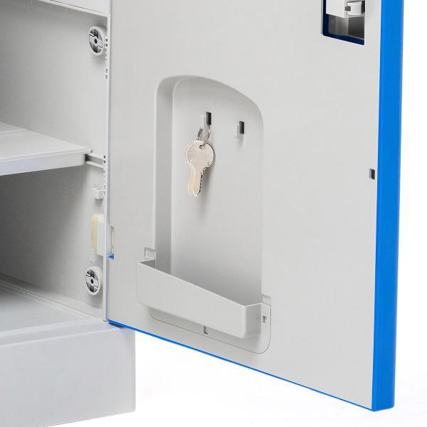 ロッカー プラスチックロッカー 2段セット品 100-LBOX003BL×2 100-LBOXCB001×1 底板セット 軽量 縦横連結可能 工具不要 簡単組立 ブルー(即納) sanwadirect 15
