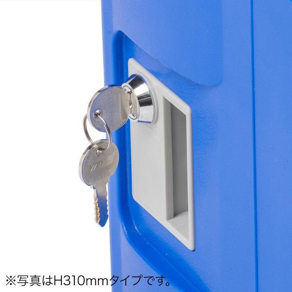 ロッカー プラスチックロッカー 2段セット品 100-LBOX003BL×2 100-LBOXCB001×1 底板セット 軽量 縦横連結可能 工具不要 簡単組立 ブルー(即納) sanwadirect 16