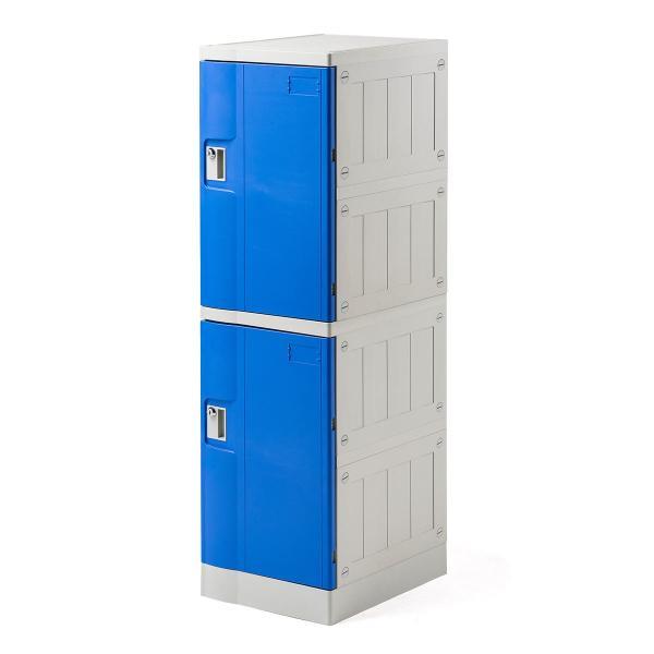 ロッカー プラスチックロッカー 2段セット品 100-LBOX003BL×2 100-LBOXCB001×1 底板セット 軽量 縦横連結可能 工具不要 簡単組立 ブルー(即納) sanwadirect 20
