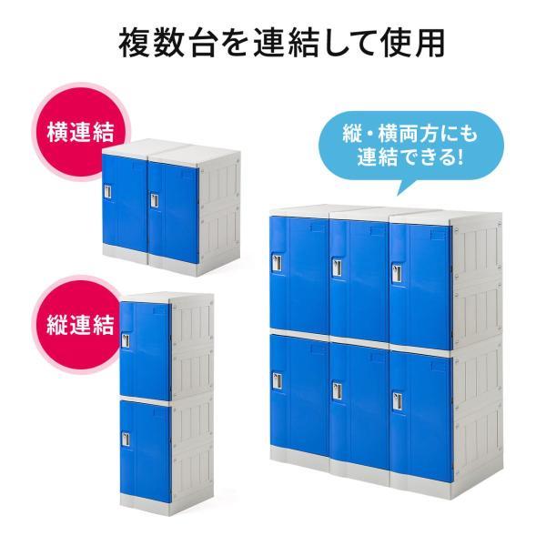 ロッカー プラスチックロッカー 2段セット品 100-LBOX003BL×2 100-LBOXCB001×1 底板セット 軽量 縦横連結可能 工具不要 簡単組立 ブルー(即納) sanwadirect 04