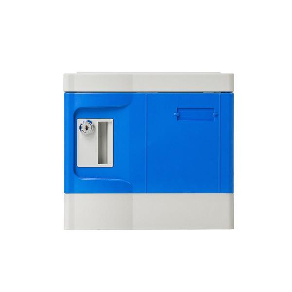 ロッカー プラスチックロッカー 2段セット品 100-LBOX004BL×2 100-LBOXCB002×1 底板セット 軽量 縦横連結可能 工具不要 簡単組立 ブルー(即納) sanwadirect 15