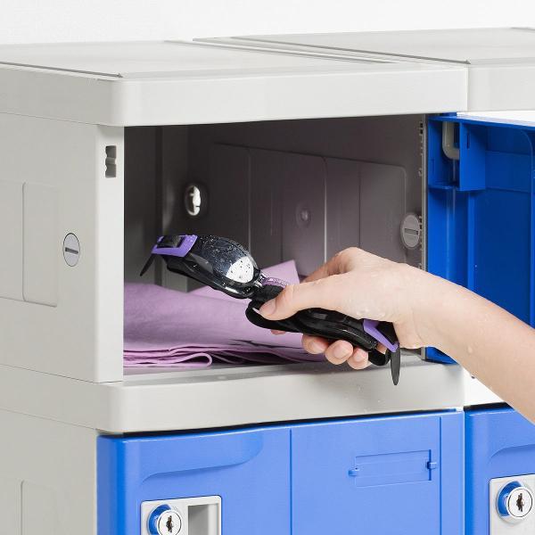 ロッカー プラスチックロッカー 2段セット品 100-LBOX004BL×2 100-LBOXCB002×1 底板セット 軽量 縦横連結可能 工具不要 簡単組立 ブルー(即納) sanwadirect 19