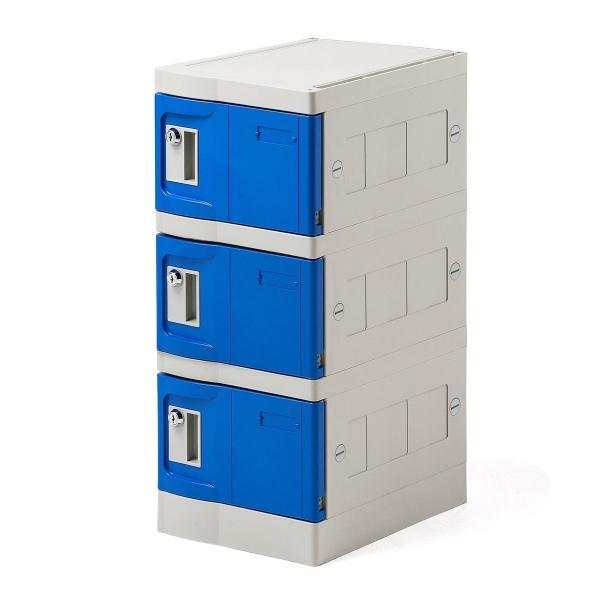 ロッカー プラスチックロッカー 3段セット品 100-LBOX004BL×3 100-LBOXCB002×1 底板セット 軽量 縦横連結可能 工具不要 簡単組立 ブルー(即納)|sanwadirect|20