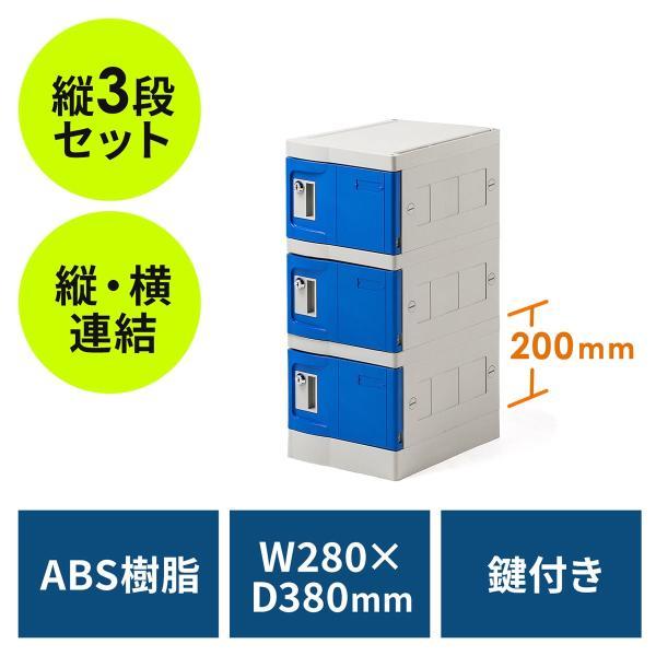 ロッカー プラスチックロッカー 3段セット品 100-LBOX004BL×3 100-LBOXCB002×1 底板セット 軽量 縦横連結可能 工具不要 簡単組立 ブルー(即納)|sanwadirect|21