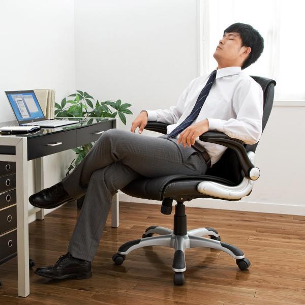 オフィスチェア 肘掛け 跳ね上げ アームレスト キャスター付 社長椅子(即納)|sanwadirect|12