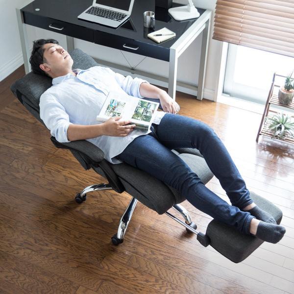 リクライニングチェア オフィスチェア リラックスチェアー 肘付き オットマン付き 椅子(即納)|sanwadirect|14