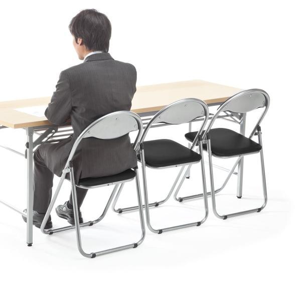 折りたたみ パイプ椅子 3脚セット 会議用椅子 パイプチェア(即納)|sanwadirect|16
