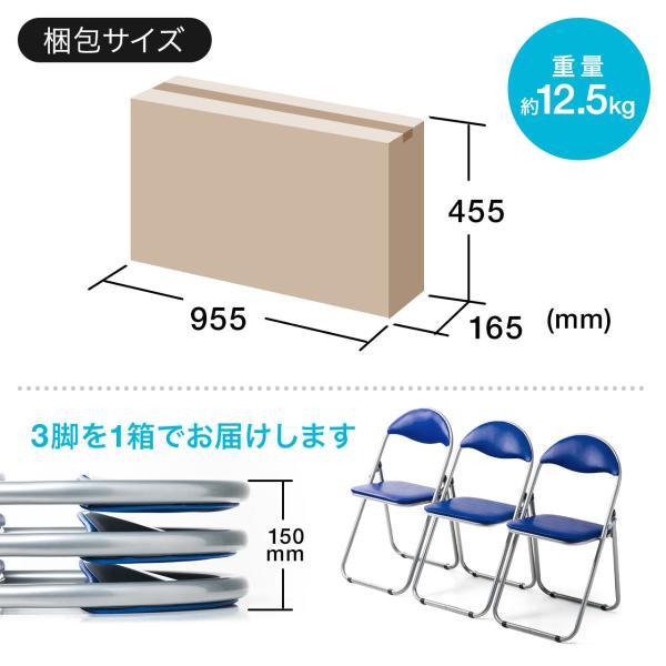 折りたたみ パイプ椅子 3脚セット 会議用椅子 パイプチェア(即納)|sanwadirect|09