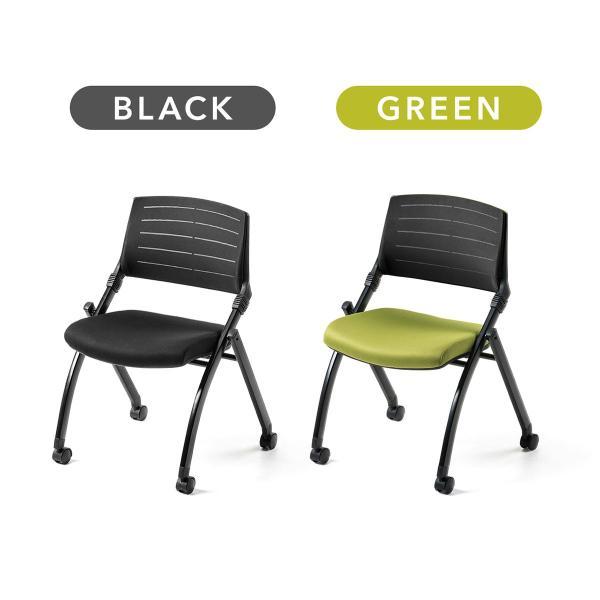 ミーティングチェア 会議椅子 キャスター付 折りたたみ ネスティングチェア スタッキング メッシュ  2脚セット(即納) sanwadirect 02