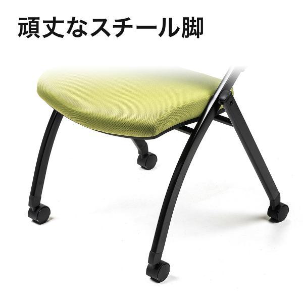 ミーティングチェア 会議椅子 キャスター付 折りたたみ ネスティングチェア スタッキング メッシュ  2脚セット(即納) sanwadirect 12