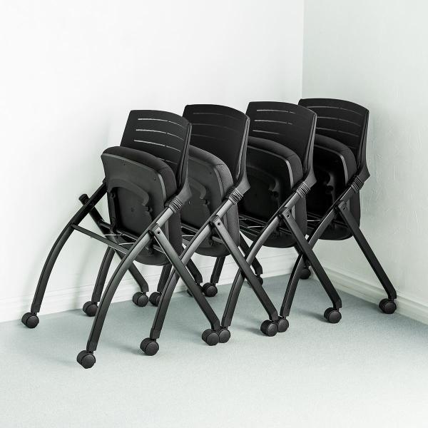 ミーティングチェア 会議椅子 キャスター付 折りたたみ ネスティングチェア スタッキング メッシュ  2脚セット(即納) sanwadirect 13