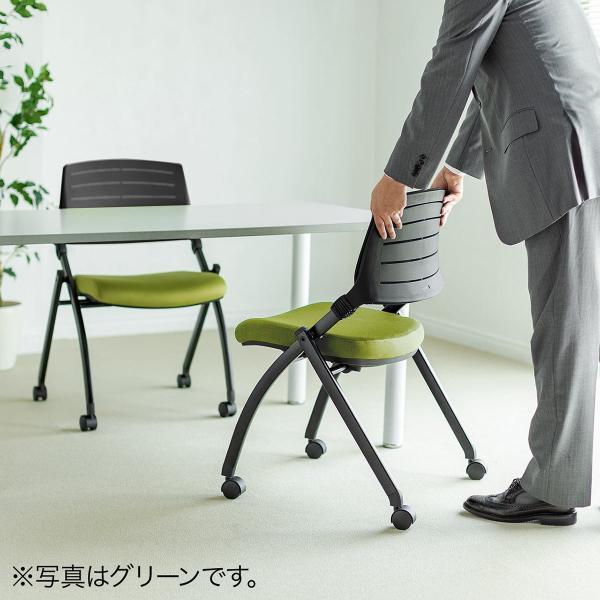 ミーティングチェア 会議椅子 キャスター付 折りたたみ ネスティングチェア スタッキング メッシュ  2脚セット(即納) sanwadirect 15