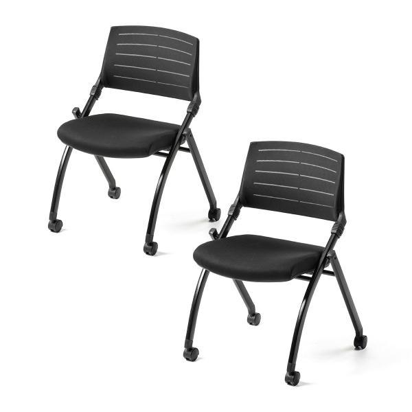 ミーティングチェア 会議椅子 キャスター付 折りたたみ ネスティングチェア スタッキング メッシュ  2脚セット(即納) sanwadirect 17