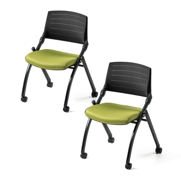 ミーティングチェア 会議椅子 キャスター付 折りたたみ ネスティングチェア スタッキング メッシュ  2脚セット(即納) sanwadirect 18