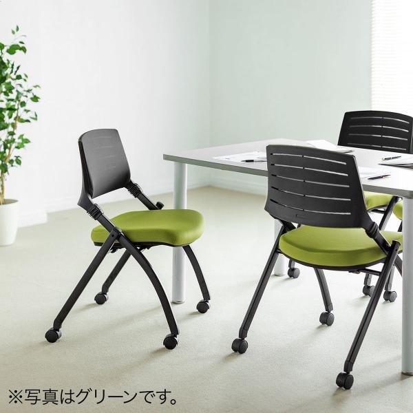 ミーティングチェア 会議椅子 キャスター付 折りたたみ ネスティングチェア スタッキング メッシュ  2脚セット(即納) sanwadirect 19