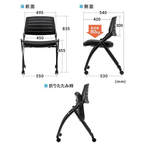 ミーティングチェア 会議椅子 キャスター付 折りたたみ ネスティングチェア スタッキング メッシュ  2脚セット(即納) sanwadirect 03