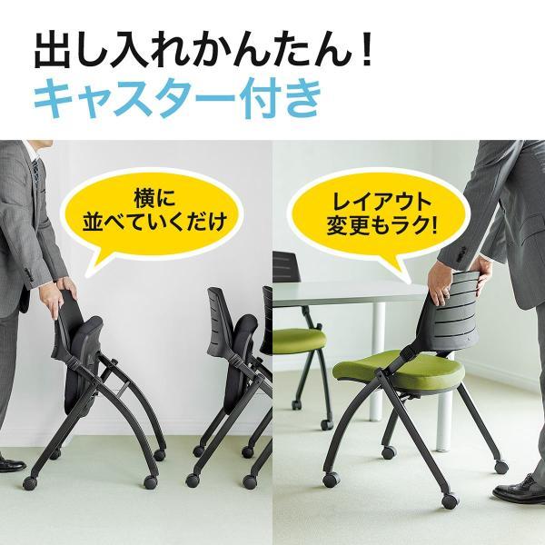 ミーティングチェア 会議椅子 キャスター付 折りたたみ ネスティングチェア スタッキング メッシュ  2脚セット(即納) sanwadirect 08