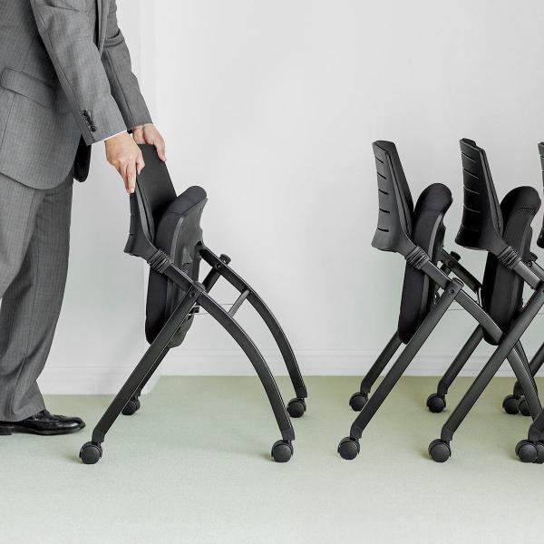 ミーティングチェア 会議椅子 キャスター付 折りたたみ ネスティングチェア スタッキング メッシュ  1脚(即納)|sanwadirect|14