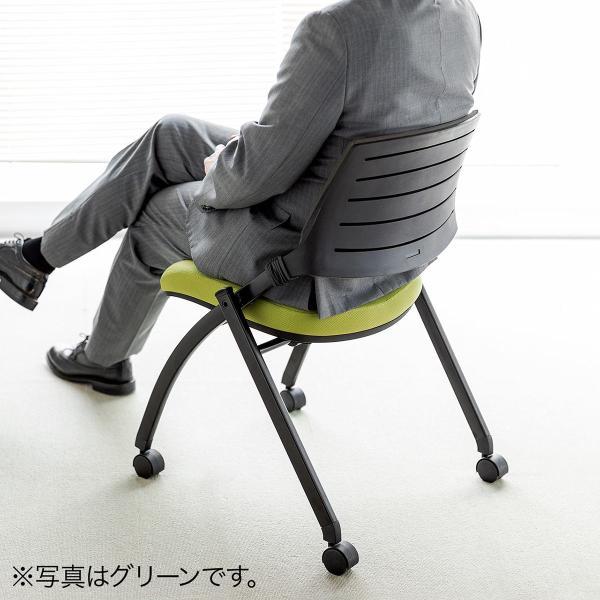 ミーティングチェア 会議椅子 キャスター付 折りたたみ ネスティングチェア スタッキング メッシュ  1脚(即納)|sanwadirect|16