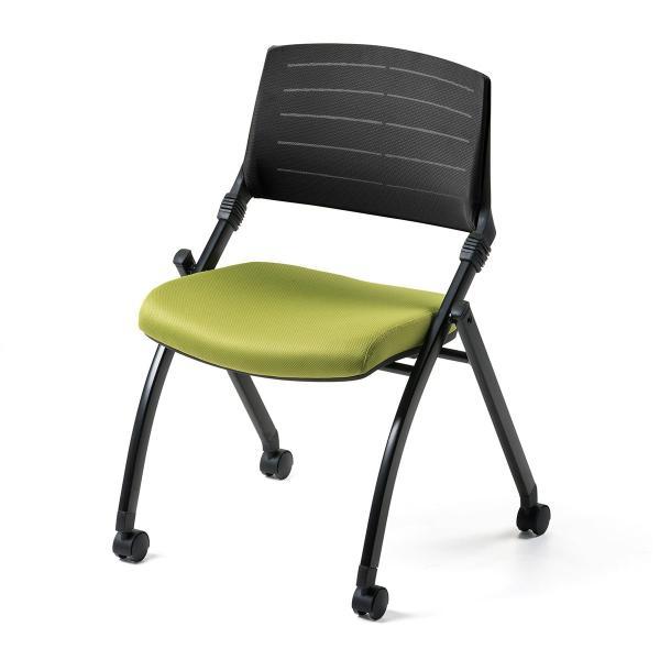 ミーティングチェア 会議椅子 キャスター付 折りたたみ ネスティングチェア スタッキング メッシュ  1脚(即納)|sanwadirect|18