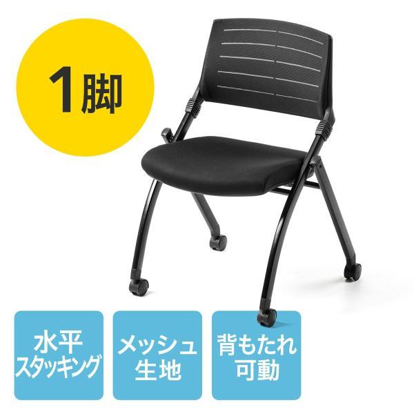 ミーティングチェア 会議椅子 キャスター付 折りたたみ ネスティングチェア スタッキング メッシュ  1脚(即納)|sanwadirect|21