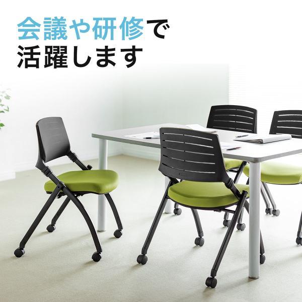 ミーティングチェア 会議椅子 キャスター付 折りたたみ ネスティングチェア スタッキング メッシュ  1脚(即納)|sanwadirect|09