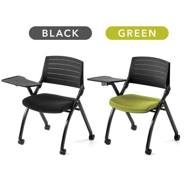パイプ椅子 テーブル付き メモ台付き 折りたたみ椅子 会議椅子 ミーティングチェア キャスター付 スタッキング メッシュ 低反発 2脚セット|sanwadirect|02