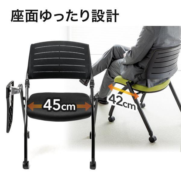 パイプ椅子 テーブル付き メモ台付き 折りたたみ椅子 会議椅子 ミーティングチェア キャスター付 スタッキング メッシュ 低反発 2脚セット|sanwadirect|13