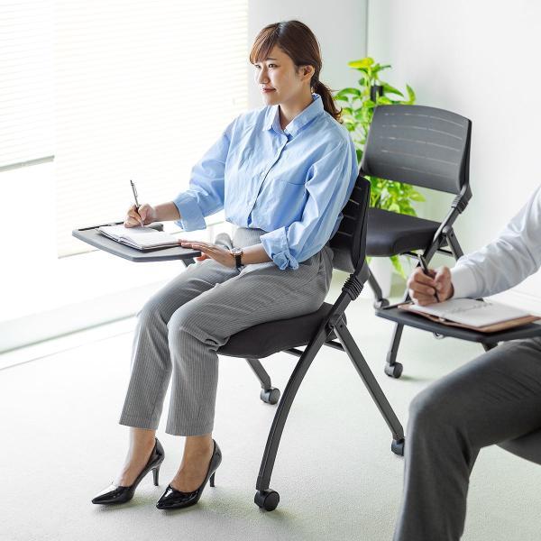 パイプ椅子 テーブル付き メモ台付き 折りたたみ椅子 会議椅子 ミーティングチェア キャスター付 スタッキング メッシュ 低反発 2脚セット|sanwadirect|15