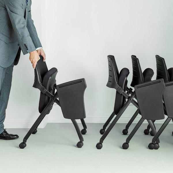 パイプ椅子 テーブル付き メモ台付き 折りたたみ椅子 会議椅子 ミーティングチェア キャスター付 スタッキング メッシュ 低反発 2脚セット|sanwadirect|16