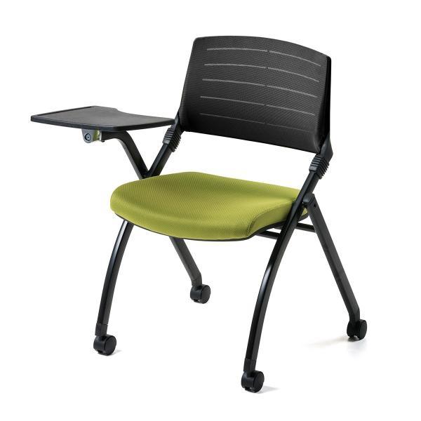 パイプ椅子 テーブル付き メモ台付き 折りたたみ椅子 会議椅子 ミーティングチェア キャスター付 スタッキング メッシュ 低反発 2脚セット|sanwadirect|18