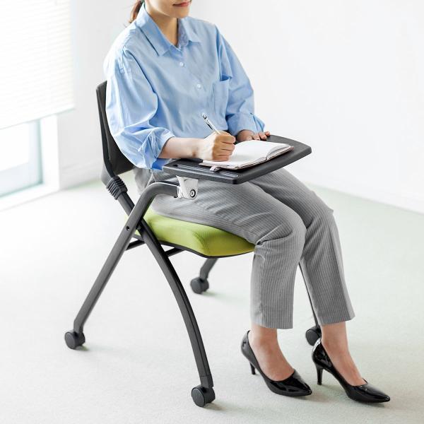 パイプ椅子 テーブル付き メモ台付き 折りたたみ椅子 会議椅子 ミーティングチェア キャスター付 スタッキング メッシュ 低反発 2脚セット|sanwadirect|19
