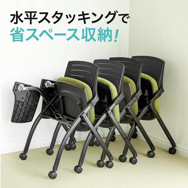パイプ椅子 テーブル付き メモ台付き 折りたたみ椅子 会議椅子 ミーティングチェア キャスター付 スタッキング メッシュ 低反発 2脚セット|sanwadirect|06