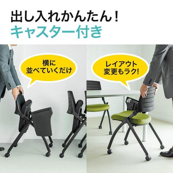 パイプ椅子 テーブル付き メモ台付き 折りたたみ椅子 会議椅子 ミーティングチェア キャスター付 スタッキング メッシュ 低反発 2脚セット|sanwadirect|07