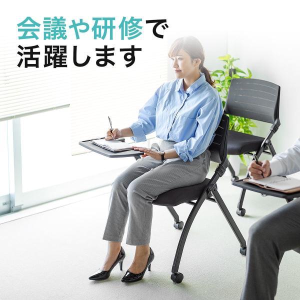 パイプ椅子 テーブル付き メモ台付き 折りたたみ椅子 会議椅子 ミーティングチェア キャスター付 スタッキング メッシュ 低反発 2脚セット|sanwadirect|08