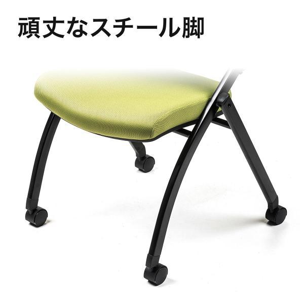 パイプ椅子 テーブル付き メモ台付き 折りたたみ椅子 会議椅子 ミーティングチェア キャスター付 スタッキング メッシュ 低反発 1脚|sanwadirect|12