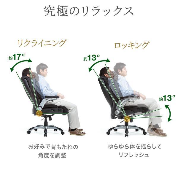 リクライニングチェア チェアー オフィスチェア 社長椅子 ロッキング ハイバック パーソナルチェア|sanwadirect|05