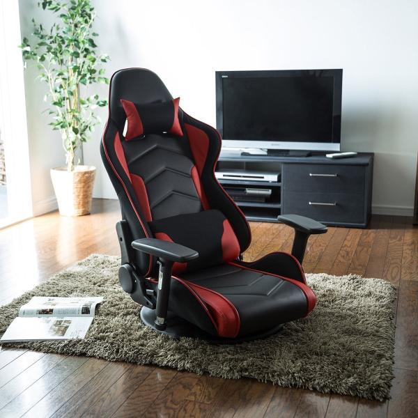 座椅子 ゲーミング座椅子 座いす 座イス リクライニング チェア ハイバック 肘掛け 肘付き 回転 ゲーミングチェア|sanwadirect|19
