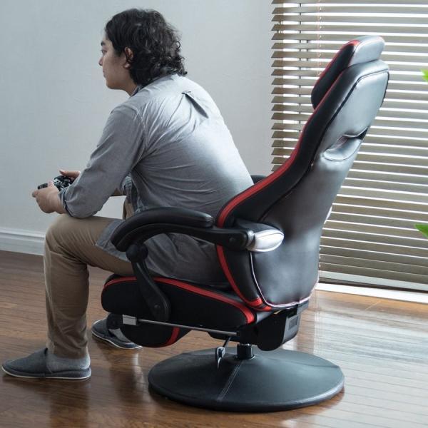 リクライニング座椅子 座いす 座イス 回転 ハイバック ゲーミング座椅子 肘掛け 肘付き ゲーミングチェア(即納)|sanwadirect|18