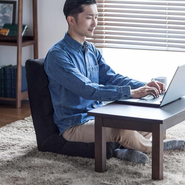 座椅子 リクライニング コンパクト おしゃれ フロアチェア リビングチェア 低反発 一人掛けソファ 座イス 座いす ざいす 日本製42段ギア|sanwadirect|11