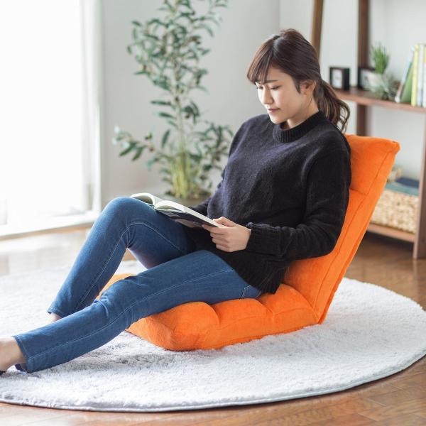 座椅子 リクライニング コンパクト おしゃれ フロアチェア リビングチェア 低反発 一人掛けソファ 座イス 座いす ざいす 日本製42段ギア|sanwadirect|12