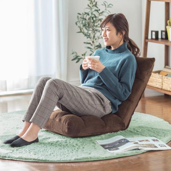 座椅子 リクライニング コンパクト おしゃれ フロアチェア リビングチェア 低反発 一人掛けソファ 座イス 座いす ざいす 日本製42段ギア|sanwadirect|10